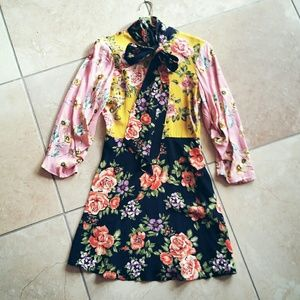 Patchwork Floral Dress with Bow